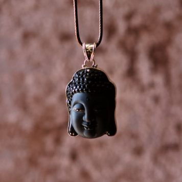 Artisan Sterling Silver Buddha Head Obsidian Carve Necklace