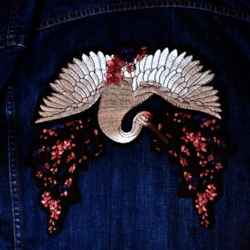 Embroidered Patch Crane and Cherry Blossom