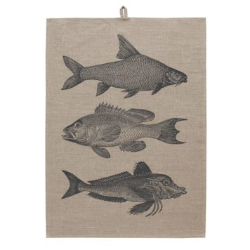 Trio of Fish Tea towel Natural Unwashed Linen