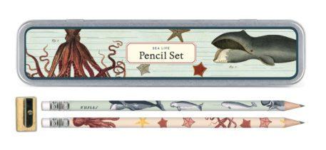 Estuche metálico con lápices Vintage Sea Life