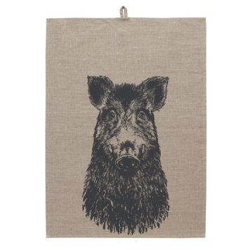 Linen Tea towel Screen print - Sus scrofa