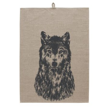 Linen Tea towel Screen print - Canis lupus