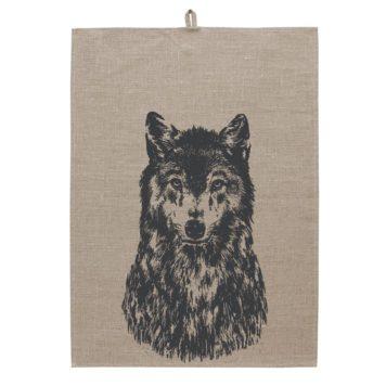 Paño de cocina de lino serigrafíado - Canis lupus