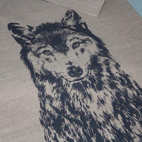 Linen Tea towel Screen print - Canis lupus