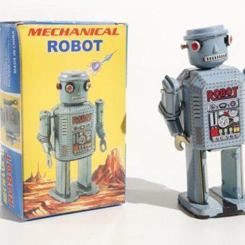 Vintage Tin Robot Light Blue
