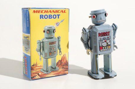 Robot Metálico Vintage Azul Claro