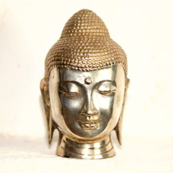 Cast Bronze and Silver head of Buddha
