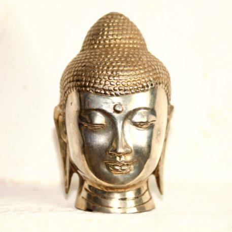 Cabeza de Bronce Fundido y Plata de Buda