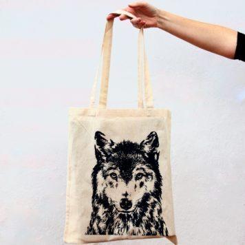 Tote bag Screen print - Canis lupus