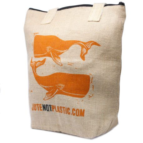 4 Bolsas de compras de yute de ballenas grandes