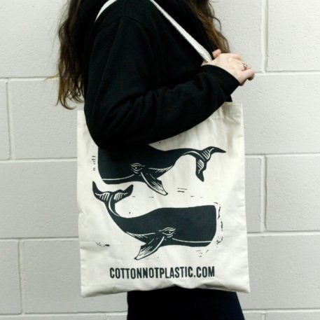 Bolsa de compras de ballenas de algodón