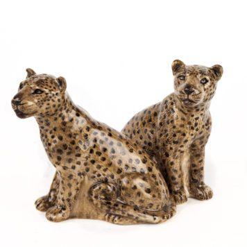 Pair of Ceramic Leopards Salt and Pepper