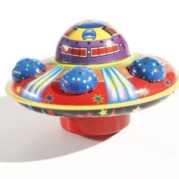 Detailed Vintage Tin Flying Saucer