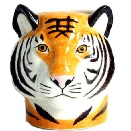 Impresionante vaso de cerámica para lápices tigre