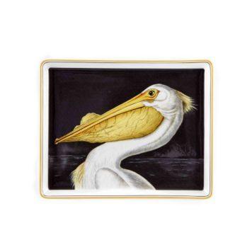Delightful White Pelican Porcelain Tray Audubon